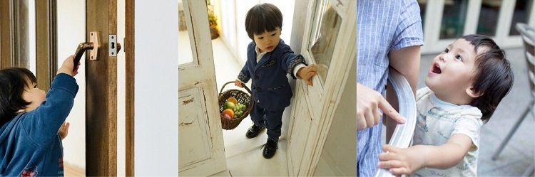ドアを触る小さい子